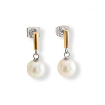 Pendants perle sur titane doré