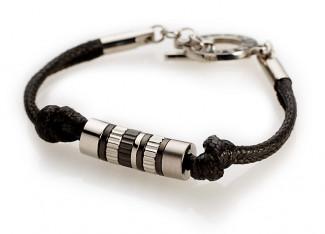 Bracelet Titane sur Cuir noir