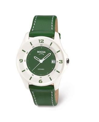 montre céramique cuir vert