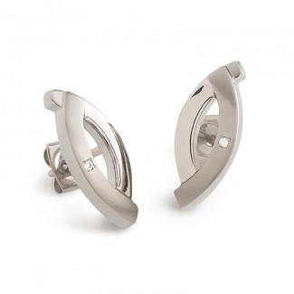 Boucles d'oreille titane et diamants